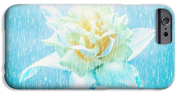Daffodil Flower In Rain. Digital Art IPhone Case by Jorgo Photography - Wall Art Gallery