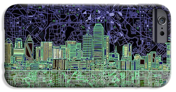 Dallas Skyline Abstract 4 IPhone 6s Case by Bekim Art