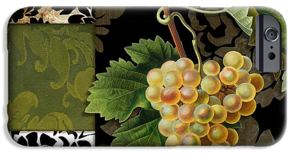 Damask Lerain Wine Grapes IPhone Case by Mindy Sommers