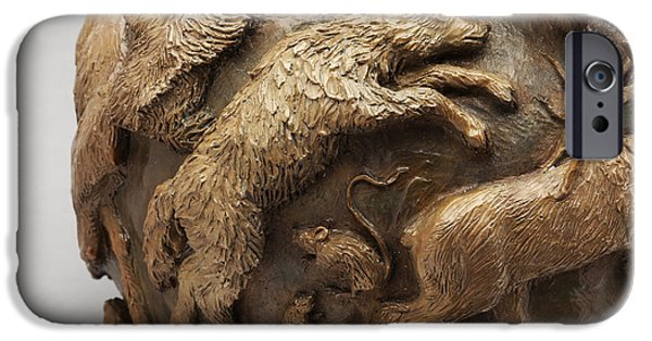 Dance Of The Seasons - Bronze Wildlife Bowl Detail - Wolf And Jumping Mice IPhone Case by Dawn Senior-Trask