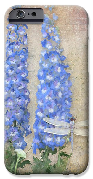 Dancing In The Wind - Damselfly N Dragonfly W Delphinium IPhone Case by Audrey Jeanne Roberts
