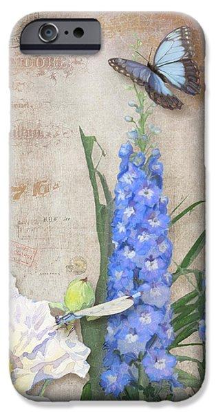 Dancing In The Wind - Damselfly N Morpho Butterfly W Delphinium IPhone Case by Audrey Jeanne Roberts