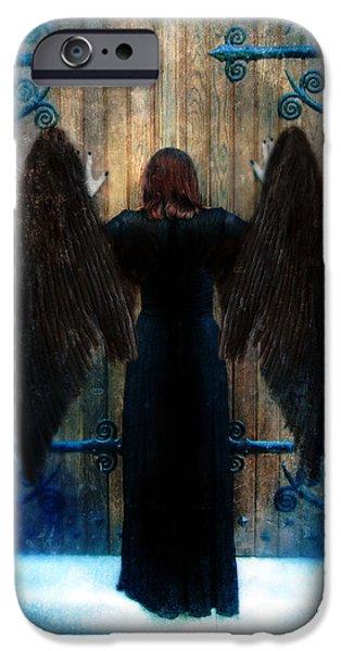 Dark Angel At Church Doors IPhone Case by Jill Battaglia