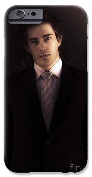 Dark Business Man Standing In Shadows IPhone Case by Jorgo Photography - Wall Art Gallery
