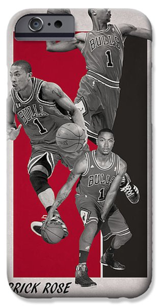 Derrick Rose Chicago Bulls IPhone Case by Joe Hamilton