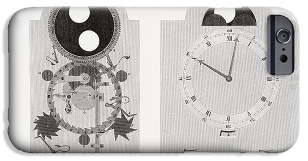 Dial Work Of A Clock Showing Moon S IPhone Case by Vintage Design Pics
