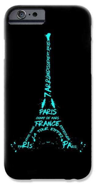 Digital-art Eiffel Tower Cyan IPhone Case by Melanie Viola