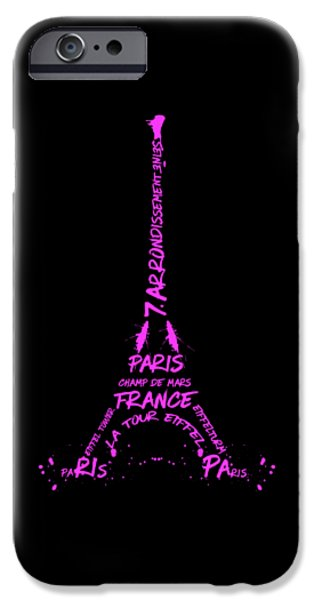 Digital-art Eiffel Tower Pink IPhone Case by Melanie Viola