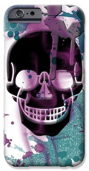 Digital-art Skull And Splashes Panoramic IPhone Case by Melanie Viola