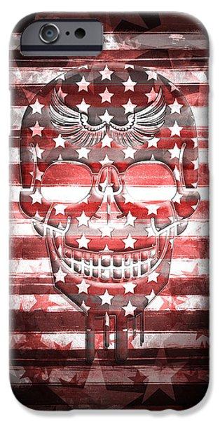 Digital-art Skull IPhone Case by Melanie Viola