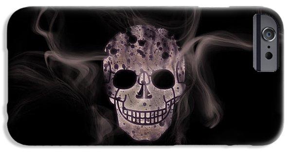 Digital-art Smoke And Skull Panoramic IPhone Case by Melanie Viola