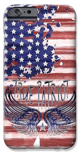 Digital-art True Patriot IPhone Case by Melanie Viola