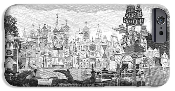 Disneyland Small World Panorama Pa Bw IPhone Case by Thomas Woolworth