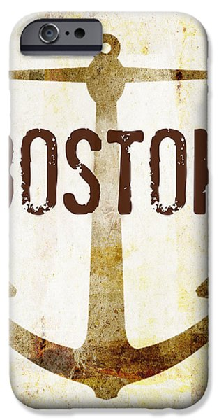 Distressed Boston Anchor IPhone Case by Brandi Fitzgerald