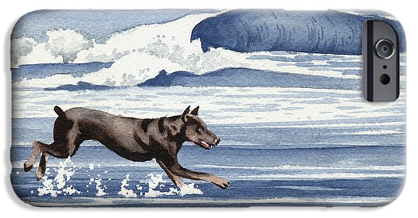 Doberman At The Beach  IPhone 6s Case by David Rogers