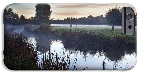 Dog Walkers On Sudbury Water Meadows At Dawn IPhone Case by Mark Sunderland