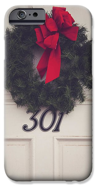 Door With Red Bow Wreath IPhone Case by Toni Hopper
