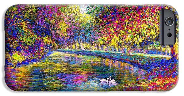 Drifting Beauties, Swans, Colorful Modern Impressionism IPhone Case by Jane Small