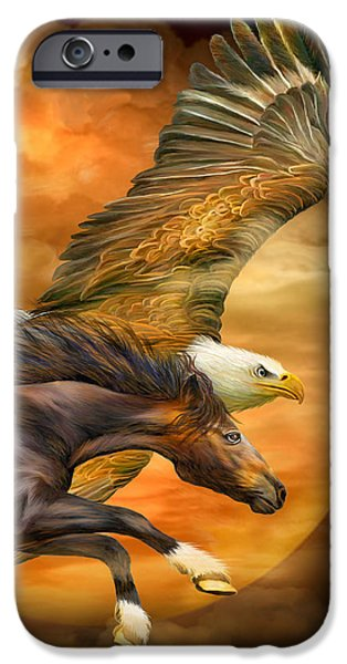 Eagle And Horse - Spirits Of The Wind IPhone Case by Carol Cavalaris