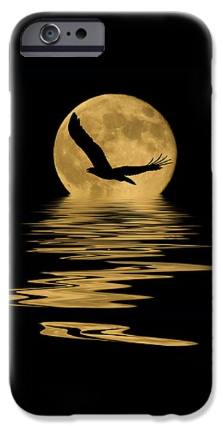 Eagle In The Moonlight IPhone Case by Shane Bechler