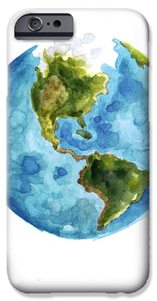 Earth America Watercolor Poster IPhone 6s Case by Joanna Szmerdt