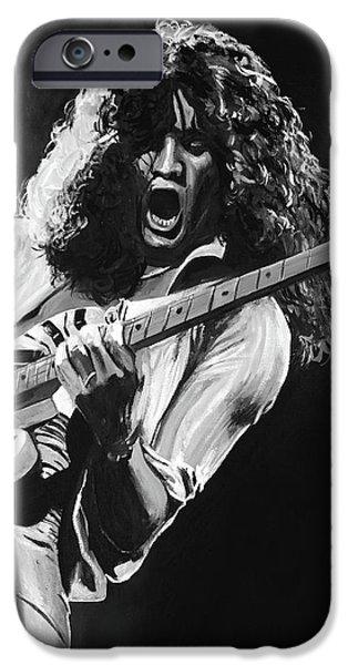 Eddie Van Halen - Black And White IPhone Case by Tom Carlton