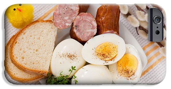 Eggs With Bread And Sausage Easter Food  IPhone Case by Arletta Cwalina