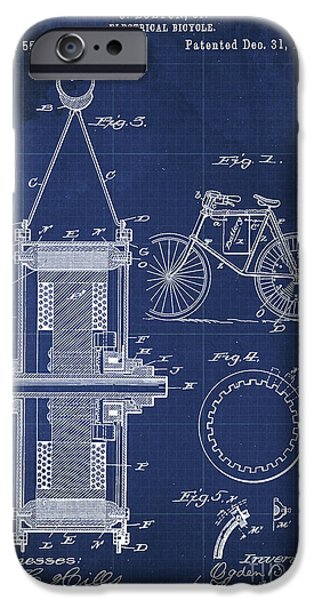 Electrical Bycicle Patent Blueprint Year 1895 Blue Vintage Decoration IPhone Case by Pablo Franchi