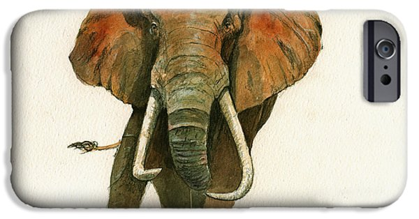 Elephant Painting           IPhone Case by Juan  Bosco