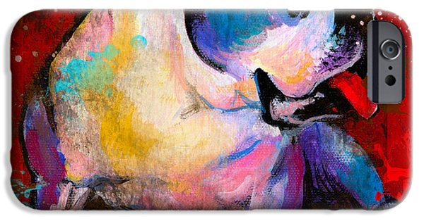 English American Pop Art Bulldog Print Painting IPhone Case by Svetlana Novikova