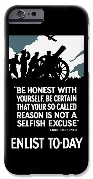 Enlist To-day - Lord Kitchener  IPhone Case by War Is Hell Store