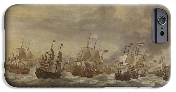 Episode From The Four Days' Naval Battle Of June 1666 IPhone Case by Willem Van De Velde The Younger