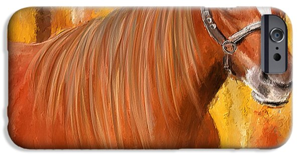 Equine Prestige - Horse Paintings IPhone Case by Lourry Legarde