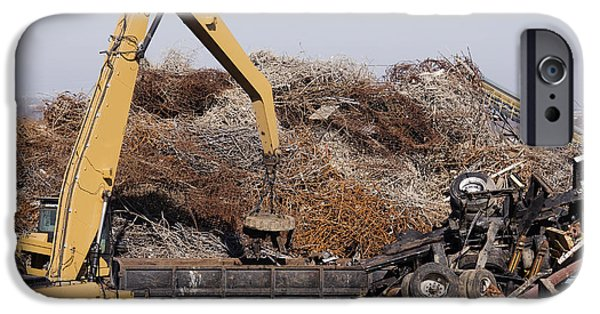 Excavator Moving Scrap Metal With Electro Magnet IPhone Case by Jeremy Woodhouse