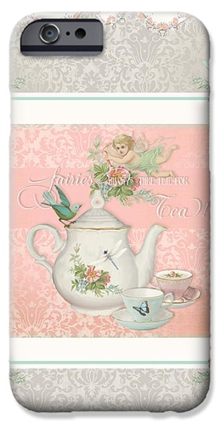 Fairy Teacups - Tea Party For Two IPhone Case by Audrey Jeanne Roberts