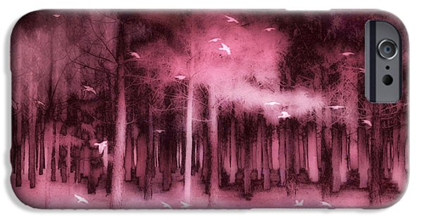 Fantasy Fairytale Pink Mauve Woodlands Trees Nature - Fairytale Woodlands Forest IPhone Case by Kathy Fornal