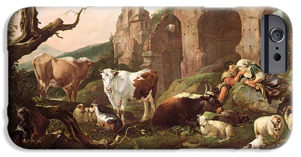 Farm Animals In A Landscape IPhone Case by Johann Heinrich Roos