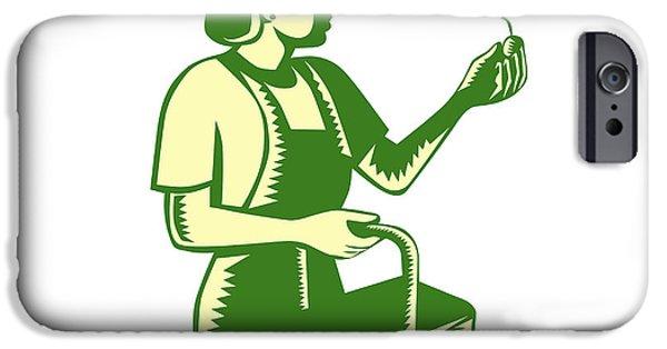 Female Fruit Picker Worker Basket Woodcut IPhone Case by Aloysius Patrimonio