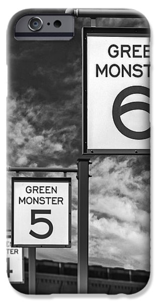 Fenway Park Green Monster Section Signs Bw IPhone Case by Susan Candelario