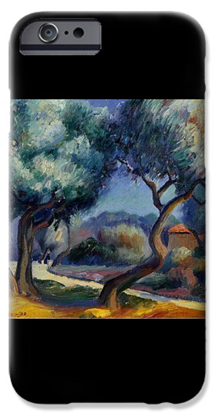 Figures On A Path Approaching A House IPhone Case by Kenneth Miller Adams