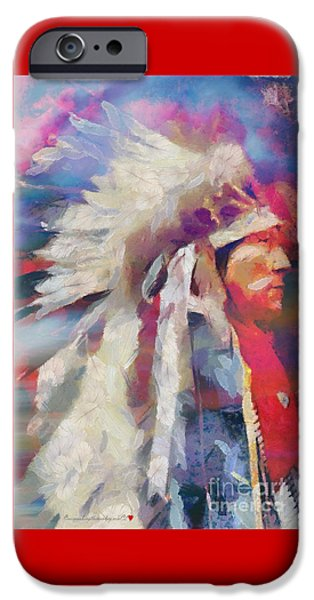 Finished Indian Feathers Painting IPhone Case by Catherine Lott