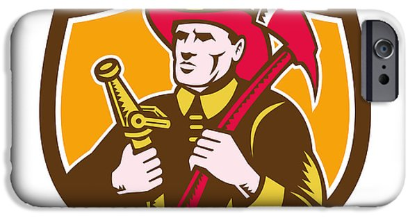 Fireman Firefighter  Axe Hose Crest Woodcut IPhone Case by Aloysius Patrimonio