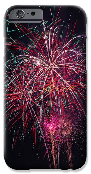 Fireworks Bursting In Night Sky IPhone Case by Garry Gay