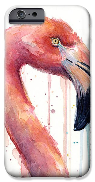 Flamingo Painting Watercolor - Facing Right IPhone 6s Case by Olga Shvartsur