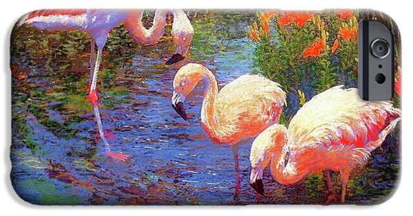 Flamingos, Tangerine Dream IPhone Case by Jane Small