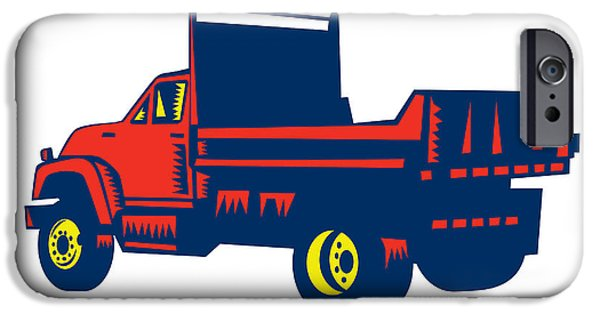 Flatbed Truck Woodcut IPhone Case by Aloysius Patrimonio