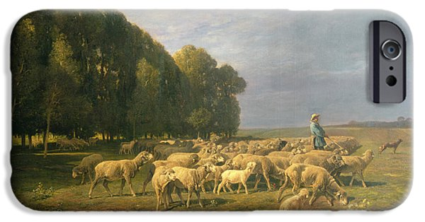 Flock Of Sheep In A Landscape IPhone Case by Charles Emile Jacque