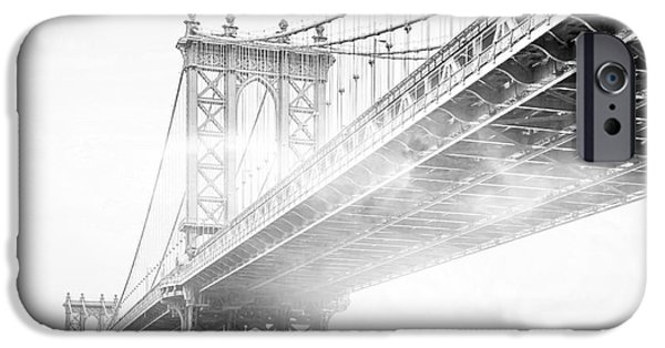 Fog Under The Manhattan Bw IPhone Case by Az Jackson