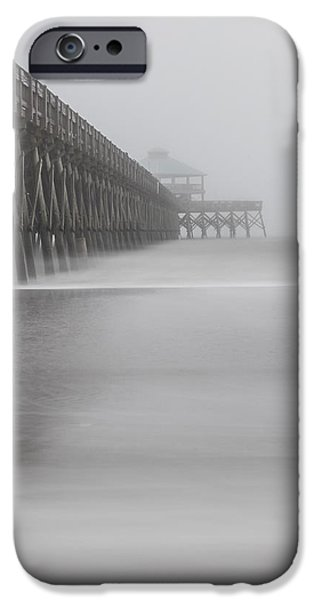Foggy Folly Beach Pier IPhone Case by John McGraw