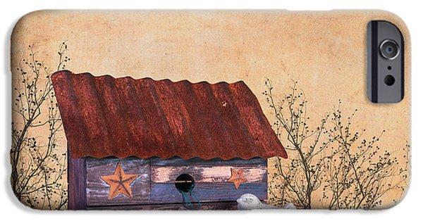 Folk Art Birdhouse Still Life IPhone Case by Tom Mc Nemar